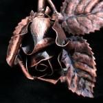 Geschmiedete Rose kupfer antik