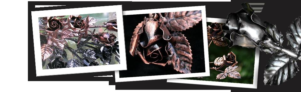 Geschmiedete Rose aus Metall mit Kupfer Antik